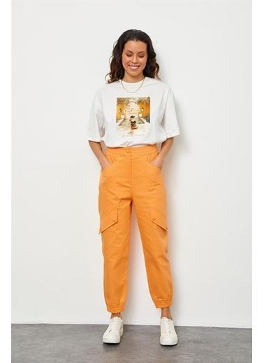 Setre Oranj Beli Lastikli Jogger Pantolon Oranj